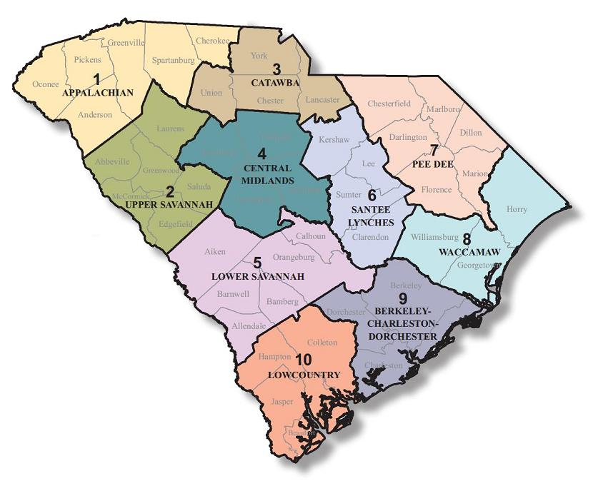 Image is of a map of the regions within South Carolina
